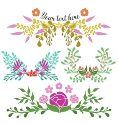 Hand Drawn Floral Compositions vector image