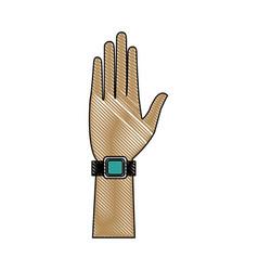 Hand man wear smartwatch wearable technology vector