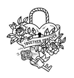 Heart shaped lock tattoo heart under lock and key vector