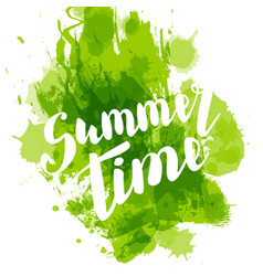 Hello summer green colored hand lettering vector
