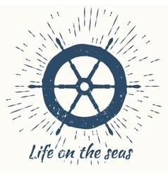 helm and vintage sun burst frame life on the seas vector image