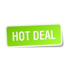 Hot deal green square sticker on white background vector