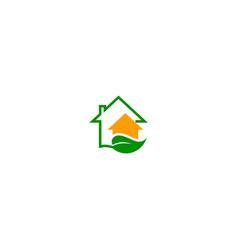 house green leaf ecology logo vector image