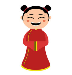 isolated traditional asian cartoon character vector image