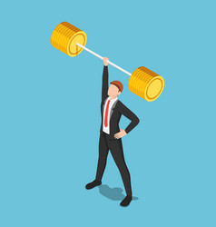 Isometric businessman lifting barbell one hand vector