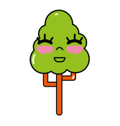 kawaii cute happy tree ecology vector image