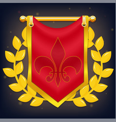 knight flag with laurel and symbol on golden pole vector image