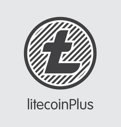 litecoinplus - cryptocurrency coin symbol vector image