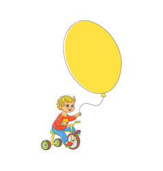 little boy riding bicycle with big balloon in hand vector image