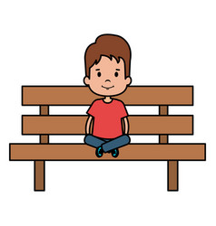 Little boy sitting in park chair character vector