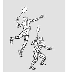 Mens doubles badminton players vector