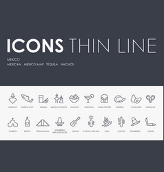 mexico thin line icons vector image