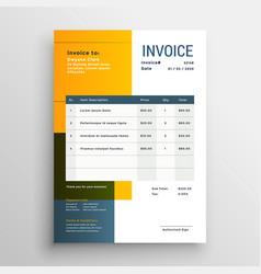 Modern yellow invoice template design vector