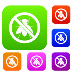 No fly sign set collection vector