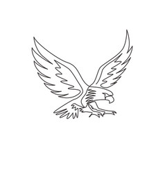 One single line drawing strong eagle bird vector