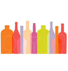 outline wine bottles and glasses on white vector image