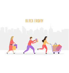 people are running with shopping bags vector image