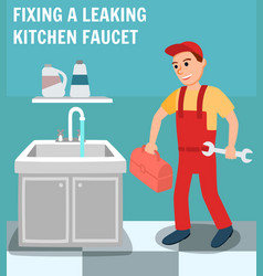 Plumber with toolbox wrench in kitchen interior vector