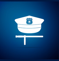 police cap and rubber baton icon police stick vector image