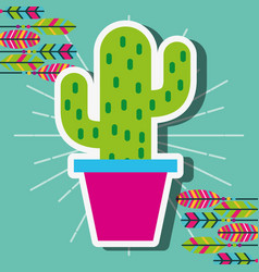 Potted cactus decoration feathers vintage vector