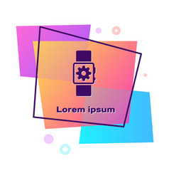 Purple smartwatch setting icon isolated on white vector