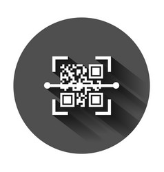 qr code scan icon in flat style scanner id on vector image