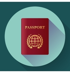 red leather passport icon flat design style vector image