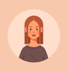 Redhead girl head avatar beautiful woman face vector