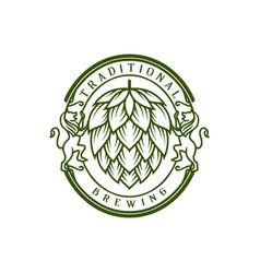 Retro vintage badge hop hops beer brewing wine vector