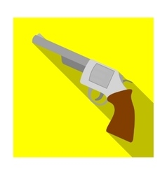 Revolver icon in flat style isolated on white vector image