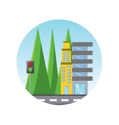 road with city buildings vector image