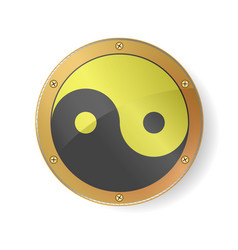 sacred geometry yin yang symbol in golden silver vector image
