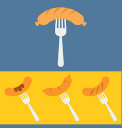 sausage on barbecue fork vector image