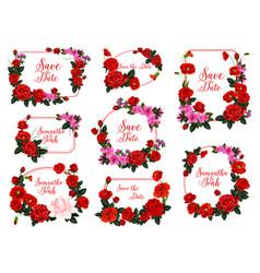 Save date flower frame for wedding invitation vector