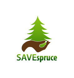 save spruce hand and spruce icon logo concept vector image