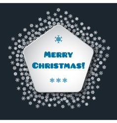 Scattered snowflakes under the retro frame vector image
