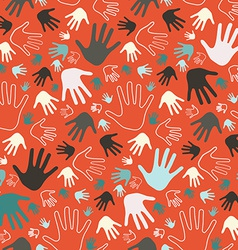 Seamless Palm Hands on Red Background vector image