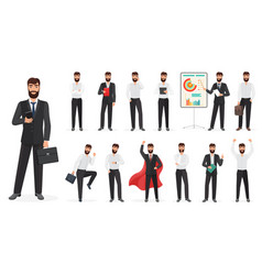 set happy businessman character with different vector image