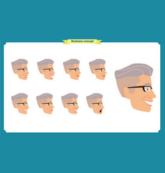set male facial emotions vector image