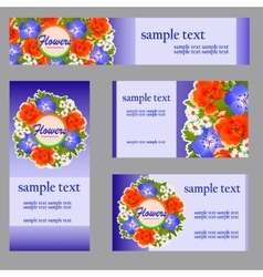 Set of four cards with floral pattern for business vector