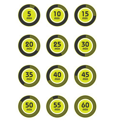 Set of timers sign icon full rotation arrow timer vector