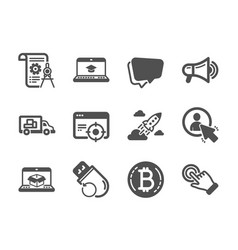 Set technology icons such as startup rocket vector