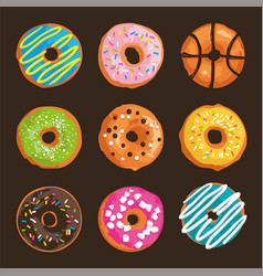 set with bright glazed sweet donuts vector image