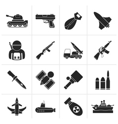 Silhouette Army weapon and arms Icons vector image