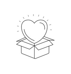 Silhouette heart coming out of cardboard box vector