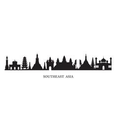 Southeast asia landmarks skyline in black vector