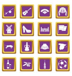 spain travel icons set purple vector image