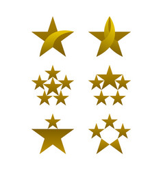 star icons set gold colored icons vector image
