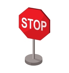 Stop road sign icon in cartoon style isolated on vector