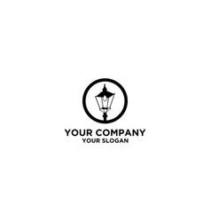 Street lamp logo design vector